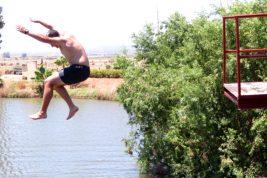 Springboard jumping at Karoowater