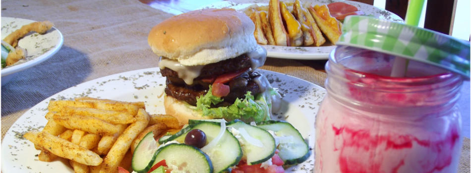 Karoo restaurant burgers at Karoowater Guest Farm between Oudtshoorn & Calitzdorp just off route 62, Western Cape